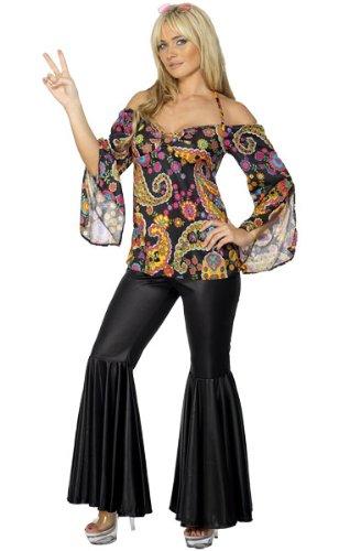 60er Jahre Hippie-Kostüm für Damen - mit Schlag - Retro-Look - Größe M