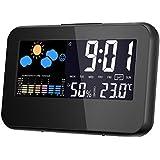 Thermometer-Hygrometer, GLISTENY digital Temperatur-Monitor Lehre mit Digitaluhr und Wecker, Kalender, Schallsteuerung Hintergrundbeleuchtung, LCD-Bildschirm, innen Temperatur und Feuchtigkeitsmonitor