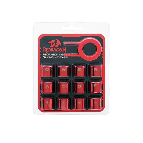 Redragon A103R Universal 12 Tastenkappen Set mit Keilabzieher für Mechanische Gaming Tastatur, mit Hintergrundbeleuchtung, kompatibel für alle mechanischen Schalter Tastaturen, Metallfarbe