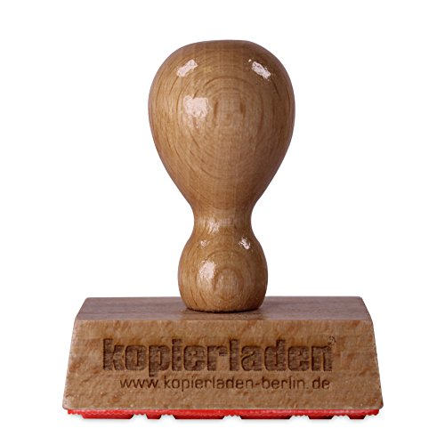 Holzstempel mit Wunschtext, 60 x 40 mm, für Adressen, Logos oder Motive - Bürostempel, Adressstempel, Firmenstempel - individualisierbar