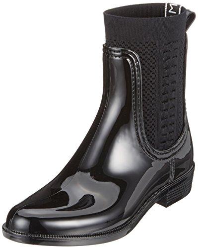 Tommy Hilfiger Damen Knit RAIN Boot Gummistiefel, Schwarz (Black 990), 38 EU