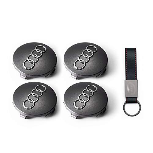 COMPATIBILE OEM 4X Set Coprimozzo 60mm per Audi A3 A4 A5 Q7 Tappi Copricerchi Lega Logo Stemma Borchie 【+ Portachiavi in Pelle】