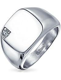 ourJewelleryBox TK130PB SAPPHIRE SIMULATED DIAMOND MENS RING STAINLESS STEEL USA MARINES f5KMfzz34