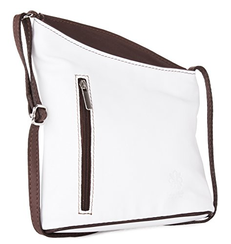 Big Handbag Shop �?Tracolla in pelle italiana, vera pelle morbida, misura piccola White - Browm Trim
