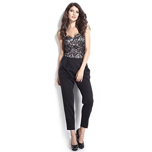 WJS-Damenbekleidung auch zwei reißverschluss - taschen schwarzen overall bh - anzug,schwarz,l