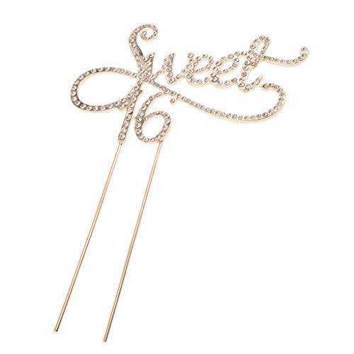 (Baoblaze Strass Tortenaufsatz Metall Tortenaufsatz Geburatstag Jahrestag Party Deko - Gold Sweet 16, 12 x 18 cm)