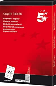 5 Star Labels Copier 24 per Sheet 70x37mm White [2400 Labels]