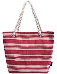 DGY Beach Bag Large Striped Canvas Beach Bag Tote Bag Multiple Colors Striped Red