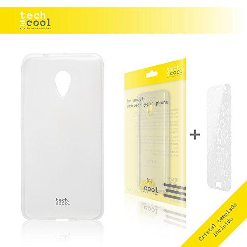 Set Cover Meizu M5S TechCool® Custodia in Silicone (TPU) per Meizu M5S Trasparénte + Vetro Temperato l Flessible, Sottile (1,5mm spessore), Anti-urto. Vetro temperato 0,3mm Spessore, Ultra HD, Senza Bolle