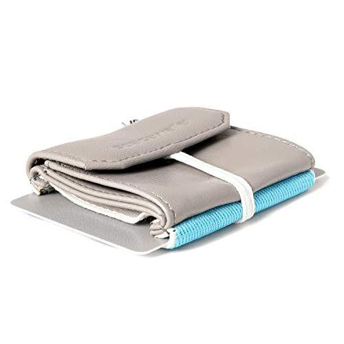 Space Wallet Pull Mini Geldbeutel aus Leder - Bis zu 15 Kreditkarten/EC-Karten im Kartenfach + Münzfach + Fach für Scheine - Handgemacht in Europa - Farbe Grau