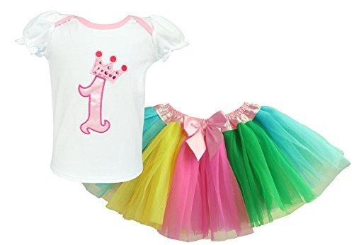 Dancina Baby Tüllrock und Oberteil Set zum 1. Geburtstag Regenbogen 12-18 Monate