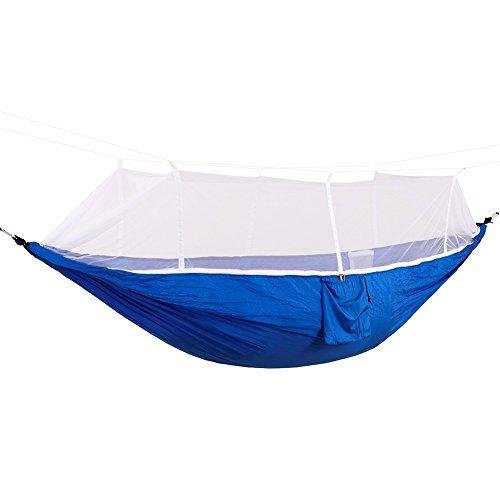 DaiHan Ultra-Light Hängematte Parachute Material für Outdoor/Camping,Belastbarkeit bis Blau Weiss M