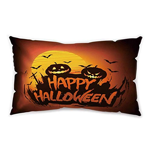 Blakww Halloween Party Rectangle Cushion Cover Trick Treat Ghost Printing Double-Sided Soft Plush Pillowcase 30 x 20 inhces (Nyc Club Halloween)