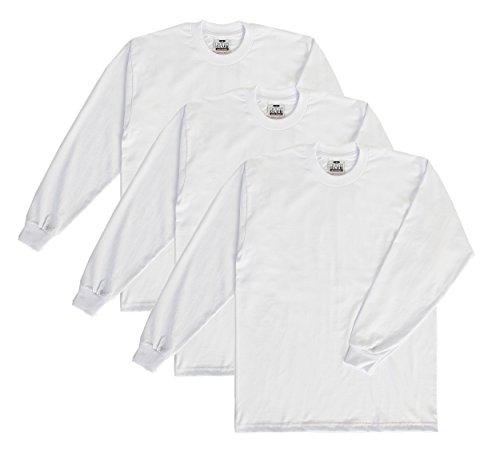 Pro Club Herren T-Shirt mit Rundhalsausschnitt, schwere Baumwolle, langärmelig, 3 Stück - Weiß - 5X-Groß -