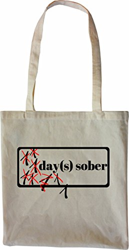 Mister Merchandise Tasche Days Sober Alkohol alcoholism Stofftasche , Farbe: Schwarz Natur