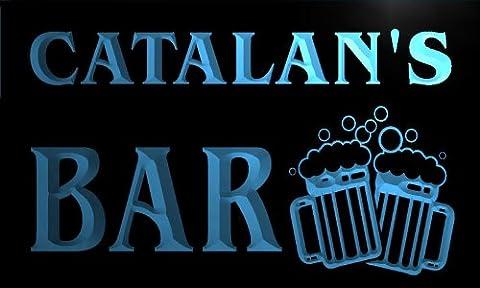 w007358-b CATALAN'S Nom Accueil Bar Pub Beer Mugs Cheers Neon Sign Biere Enseigne Lumineuse