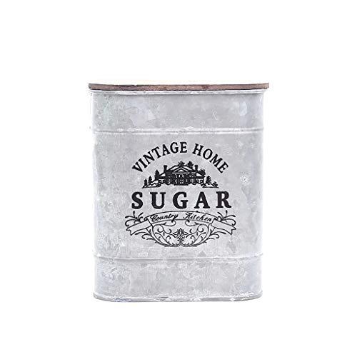 Alta calidad. Características: Mantén tu café, té y azúcar frescos en estas bonitas latas de almacenamiento. Una caja creativa para guardar caramelos, té, café, azúcar con tapa. También puede contener monedas, pendientes, anillos, collares y otras co...