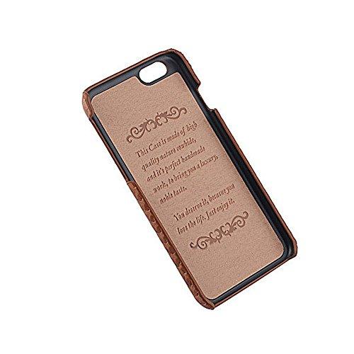 Coque iPhone 6 Levanpro Bovins Cacher Full Grain Véritable Cuir en Relief Housse Etui pour iPhone 6 / iPhone 6s (Brun) Brun clair