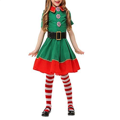 ZHRUI Weihnachtself Cosplay Custome Set Familie Jungen Mädchen Hüte Gürtel Socken Kleidung Set (Farbe : Rot, Größe : 130 cm)