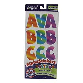 Alpha Stickers Letters & Numbers 173/Pkg-Assorted Retro, Glitter & Varsity