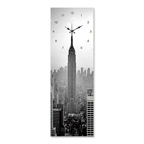 Cuadro de Cristal Templado con Reloj Gris Moderno para salón de 20 x 60 cm Factory - LOLAhome