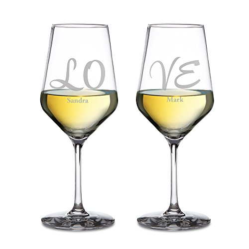 AMAVEL - Set di 2 Calici da Vino Bianco con Incisione Elegante - Love - Personalizzati con Nomi - Bicchieri da Vino - Regalo Romantico - Regalo di San Valentino - Regalo per Coppie - capacità: 490 ml