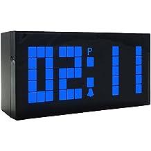 LambTown Grande LED Enorme Digital Wall Desk Sveglie Ticchettio Moderna Tabella di Controllo Silenzioso non con Multifunzione Show Time Calendar Temperatura Blu