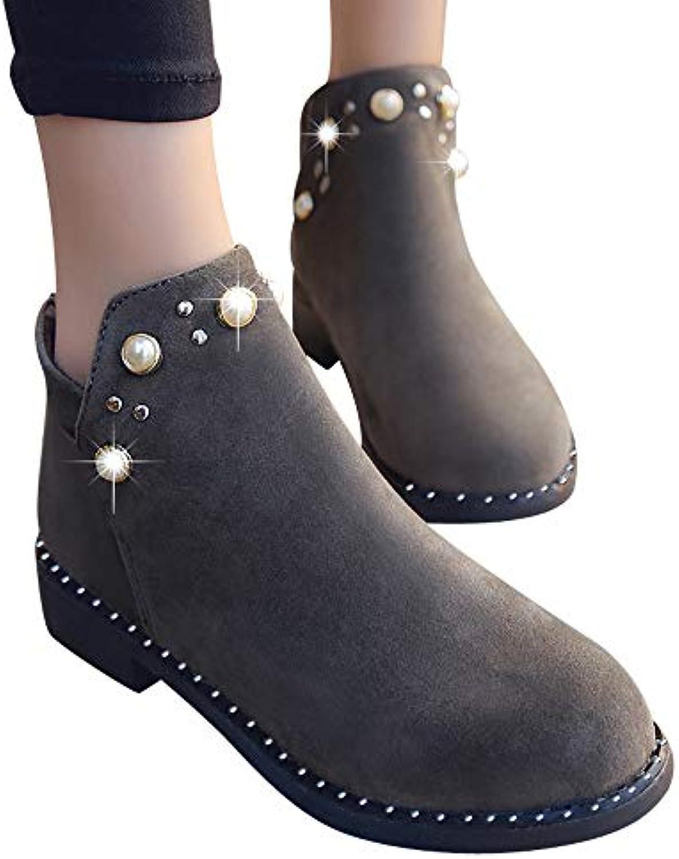 Femmes Chaussures,Sonnena Automne Bottes Femme Automne Chaussures,Sonnena  Hiver Homme Bottes Cuir Bottines Plates Fourrées Classiques Chaudes. b5e183c346dc