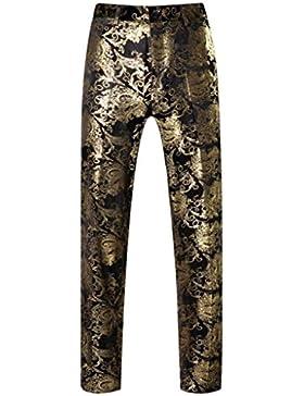 MOGU Pantalones de hombre en color oro brillante impreso