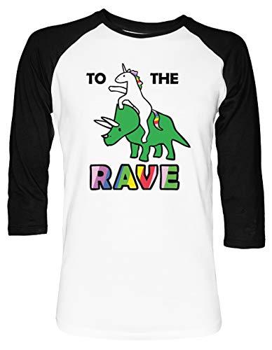 to The Rave! (Unicorn Riding Triceratops) Unisex Baseball T-Shirt 2/3 Ärmel Herren Damen Weiß Schwarz