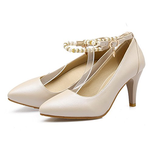VogueZone009 Femme Boucle Pu Cuir Pointu Stylet Couleur Unie Chaussures Légeres Beige