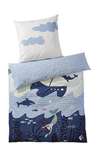 hessnatur Baby Mädchen und Jungen Unisex Renforce Wendebettwäsche aus Reiner Bio-Baumwolle hellblau 100x135+40x60 cm