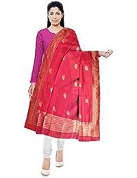 Mubarakpur Weaves' Women's Cotton Silk Handloom Dupatta (Pink) - B077YY2ZV4