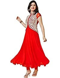 Florence Women's Red Georgette  Embroidered Straight Salwar Suit(SL032_Red)