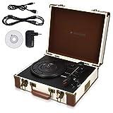 Navaris Retro Koffer Plattenspieler mit Lautsprecher - USB Port zum Digitalisieren - 35,5x11,5x27,5cm - Vintage Schallplatten Spieler Creme-Braun