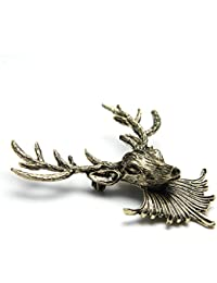 New Retro Punk Style Reindeer Collar Shirt Blouse Clip Tips Brooch Vintage Gold