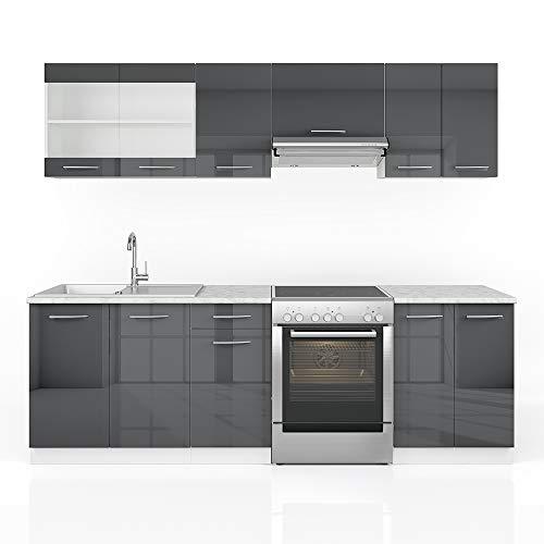 Vicco Küche Raul Küchenzeile Küchenblock Einbauküche 240 cm Anthrazit Hochglanz - Frei Kombinierbare Einheiten