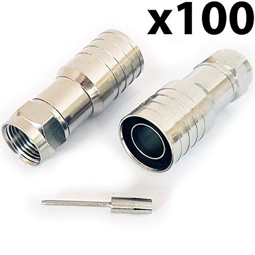Cablefinder 100x Pro Outdoor CT165/wf165F-Stecker männlich Hex Crimp Stecker Stecker-Dickes Koax-Kabel - Hex-crimp-f-stecker