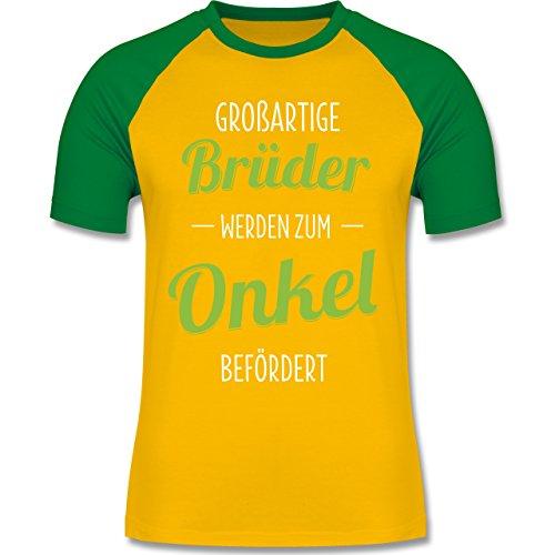 Shirtracer Bruder & Onkel - Großartige Brüder Werden Zum Onkel Befördert - Herren Baseball Shirt Gelb/Grün