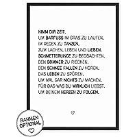 Nimm dir Zeit - Kunstdruck mit Spruch auf wunderbarem Hahnemühle Papier DIN A4 -ohne Rahmen- schwarz-weißes Bild Poster zur Deko im Büro/Wohnung/als Geschenk Mitbringsel zum Geburtstag etc.