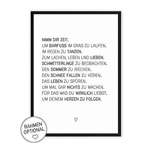Nimm dir Zeit - Kunstdruck mit Spruch auf wunderbarem Hahnemühle Papier DIN A4 -ohne Rahmen-...