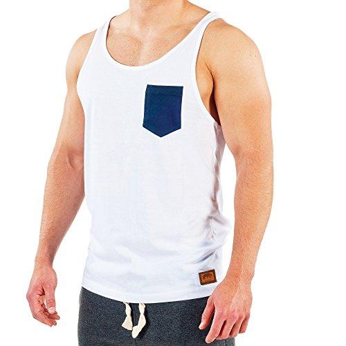 SMILODOX Tank Top Herren mit Brustasche | Muskelshirt ideal für Sport Gym Fitness & Bodybuilding | Muscle Shirt - Stringer - Tanktop - Unterhemd - Achselshirt, Farbe:Weiß/Blau, Größe:XL (Muskel-fit Shirt)