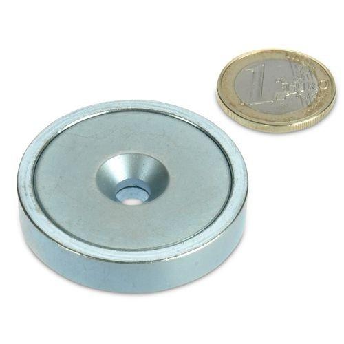 Neodym Flachgreifer Ø 42,0 x 9,0 mm mit Senkung hält 55 kg , Topfmagnet verzinkter Stahltopf, Magnet mit Senkbohrung zum Anschrauben, Werkstattmagnet (Magnet-kamerahalterung)
