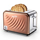 Housmile Grille-Pains en Acier Inoxydable 2 Fentes avec 6 Niveaux de brunissage, Multifonction, Toaster, Décongeler, Réchauffer et Annuler, 900W