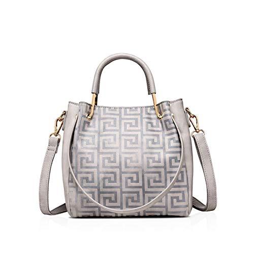 Umhängetasche Damen 2019 Casual Chic Weibliche Tasche Handtasche Dame Casual Koreanische Schultertasche Einfache Wilde Mode Trend Hellgrau (Color : Colour, Size : One Size)
