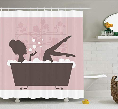 Jugendliche Mädchen Frauen Dekor Sammlung Schöne Frau in der Badewanne Spa Entspannungsbehandlung Konzept Vintage-Stil Stoff Bad Duschvorhang s Pulver Pink Dark Taupe -
