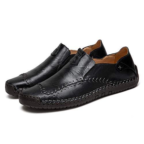 Scarpe Casual da Uomo Mocassini in Pelle Loafers Casuale Guida Moda Mocassino Basse Classic Scarpe da Cuoio Barca Oxford (Nero,44 EU,27CM dal Tallone alla Punta