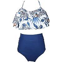 JLWF Traje De Baño para Niños Bikini con Cintura Alta con Volantes Estampado Traje De Baño Entre Padres E Hijos Blue-140