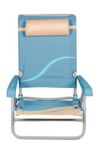 Meerweh Strandstuhl mit Verstellbarer Rückenlehne und Kopfpolster Klappstuhl Anglerstuhl Campingstuhl beige/blau