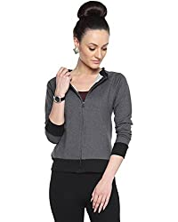 Campus Sutra Womens Cotton Jacket ( AW15_ZHBDR_W_PLN_CHBL_L _ Grey _ L )